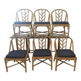 Image of 1990s Vintage McGuire Dining Room Chairs- Set of 6 For Sale