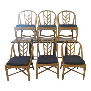 1990s Vintage McGuire Dining Room Chairs- Set of 6 For Sale