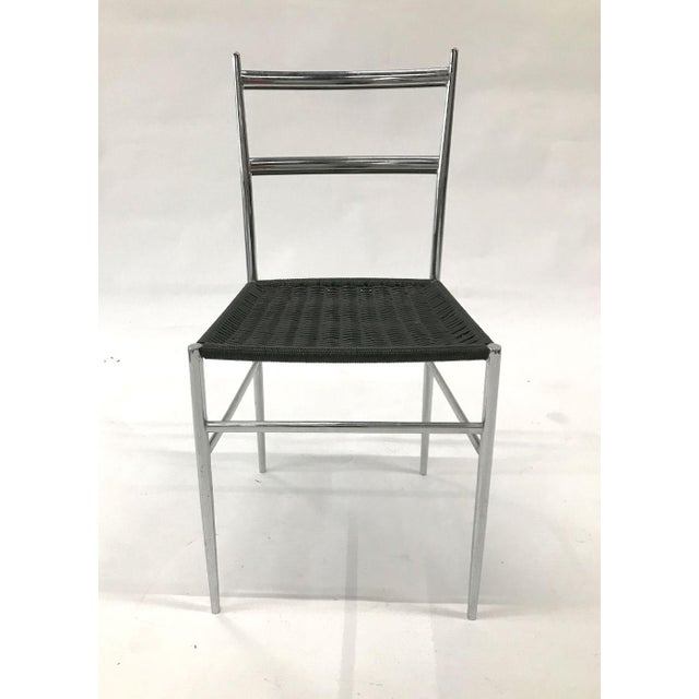 Gio Ponti chrome frame Leggera dining/side chair with black vinyl wire woven seats. Perfect desk chair. Sleek and spare,...