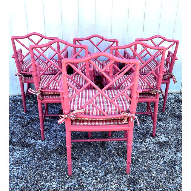 Hot Pink Faux Bamboo Chinese Chippendale Armchairs - Set of 6 For Sale - Image 4 of 13