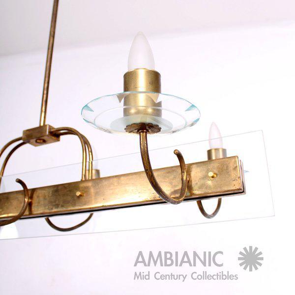 Six Arm Italian Chandelier After Fontana Arte For Sale - Image 11 of 11