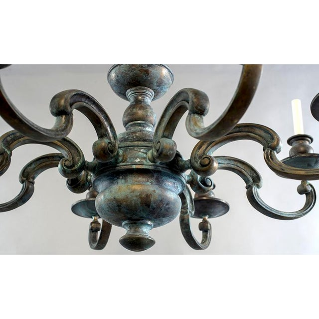 Large Eight Light Green Patinated Brass Chandelier For Sale - Image 4 of 6