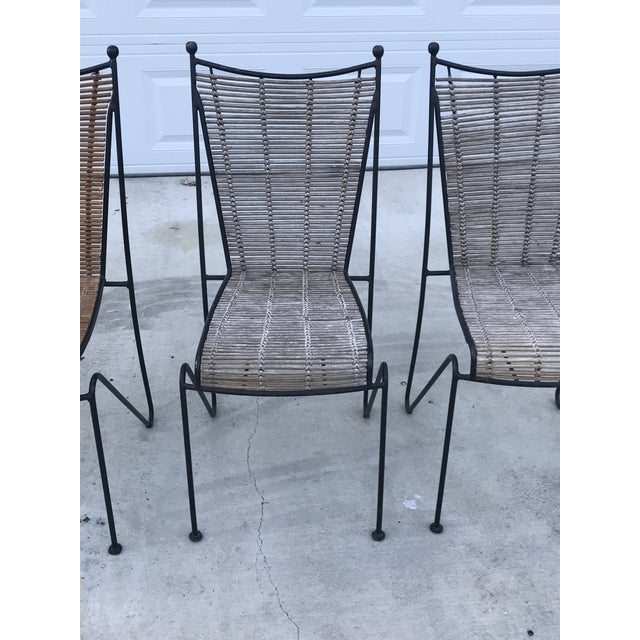 Brown Set of 6 Mid-Century Ficks Reed Bamboo and Metal Chairs For Sale - Image 8 of 13