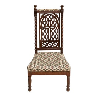 19th Century Antique French Hand Carved Oak Prie Dieu Prayer Chair Kneeler For Sale