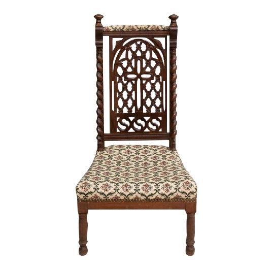 Late 19th C. Antique French Hand Carved Oak Prie Dieu Prayer Chair Kneeler For Sale