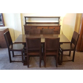 Early 20th Century English Oak Dining Set W/ Table, Chairs & Sideboard C.1920 Preview
