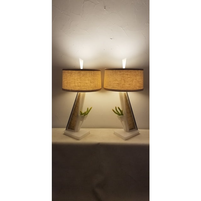 Mid-Century Modern 1950s Lucite Moss Studios Lamps With Shades - a Pair For Sale - Image 3 of 10