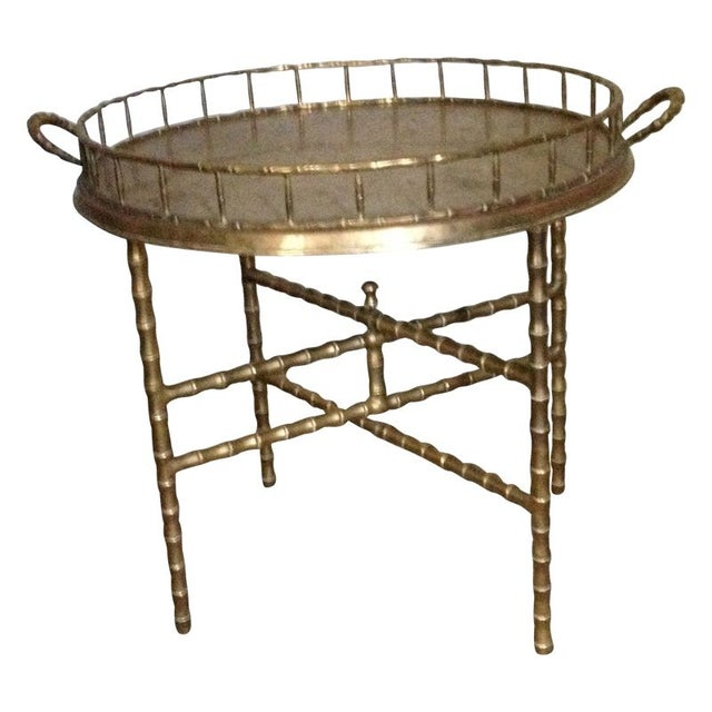 Antique Brass Bamboo Tray Table For Sale