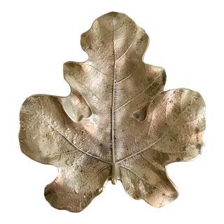 1940s Virginia Metalcrafters, Oskar Hansen, Botanical Series Solid Brass Footed Fig Leaf For Sale