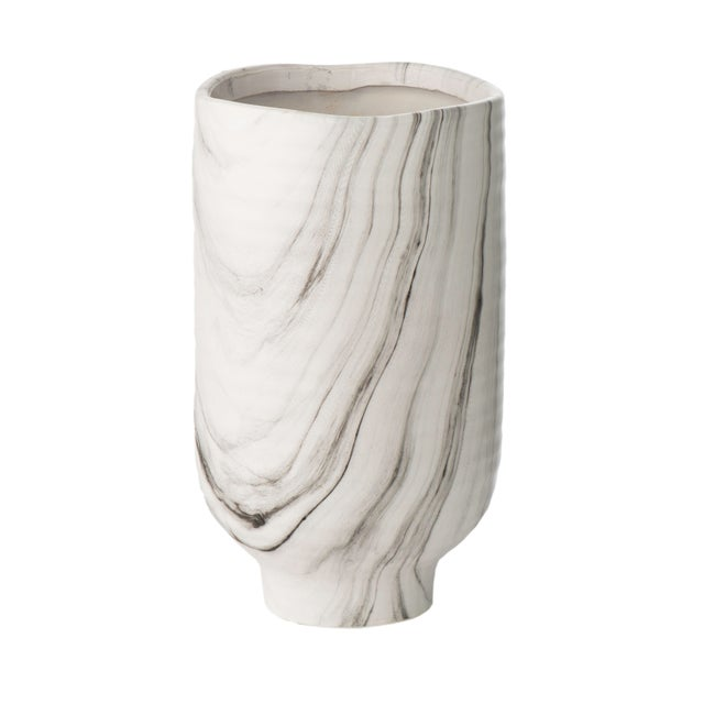 Contemporary Fumé Black/White Marbleized Vase For Sale - Image 3 of 3
