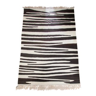 """Dark Brown and Ivory 100% Wool Flat-Woven Lahmal Moroccan Kilim Area Rug 9'6"""" X 5' 5.5"""" For Sale"""