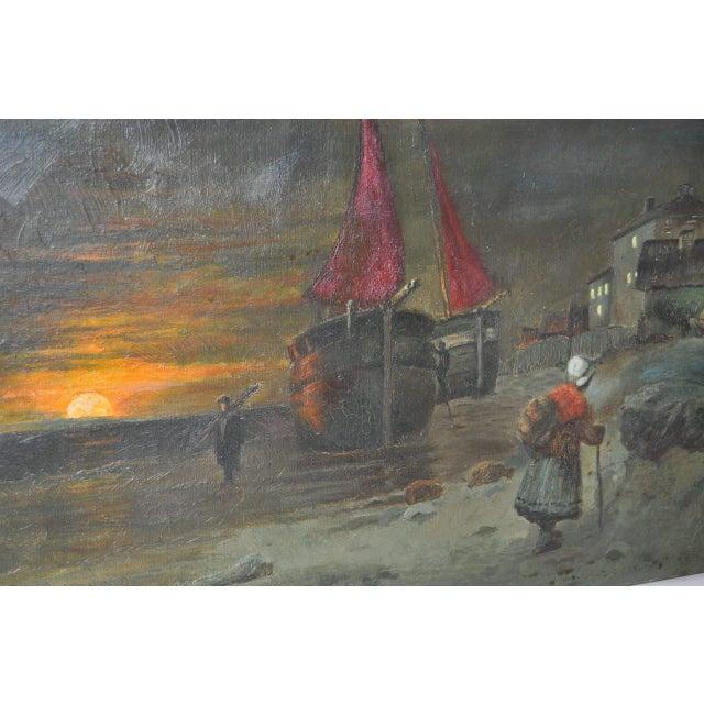 Antique Dutch Landscape Oil Painting For Sale - Image 4 of 7