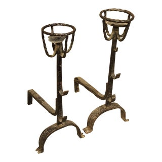 Circa 1700 Rustic Antique French Andirons - A Pair For Sale