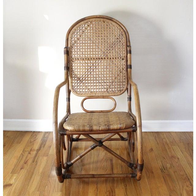 Mid-Century Vintage Cane & Rattan Bent Wood Rocking Chair ...