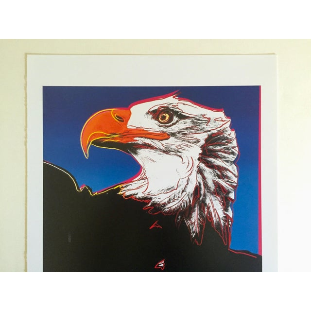 """American Andy Warhol Estate Rare Vintage 1992 Endangered Species Collector's Lithograph Pop Art Print """" Bald Eagle """" 1983 For Sale - Image 3 of 10"""