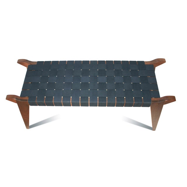Abstract 'Arvid the Long' Modern Wood & Webbing Bench For Sale - Image 3 of 5