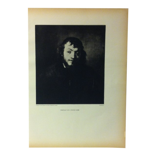 """Vintage Black & White Print of a Rembrandt Painting, """"Portrait of a Young Rabbi"""" For Sale"""