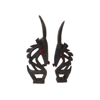 African Chi Wara Antelope Male & Female Head Masks Mali For Sale