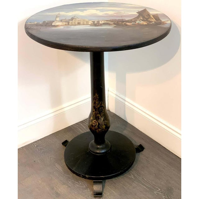 Victorian 19th Century English Papier-Mâché Tilt-Top Table View of St Marks Square For Sale - Image 3 of 11