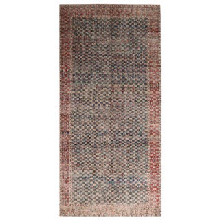 Vintage Mid Century Black and Burgundy Red Wool Rug-6′ × 12′3″ For Sale