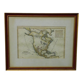 "Antique 18th C. Map-N. America-""Amerique Septentrionale"" By Bonne For Sale"