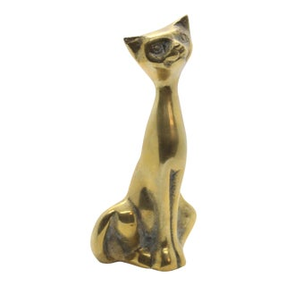 1960s Mid-Century Modern Brass Cat Figurine Paperweight For Sale