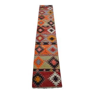 Antique Turkish Handmade Kilim Runner Rug Extra Long Hallway Rug - 2′9″ × 15′4″ For Sale