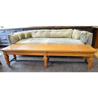 Bench From Parisian Bank, 1900s, Carved Legs and Oak Top With Steel Bar Supports Preview