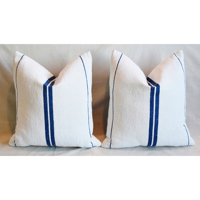 """French Blue Striped Grain-Sack Feather/Down Pillows 20"""" Square- Pair For Sale In Los Angeles - Image 6 of 11"""