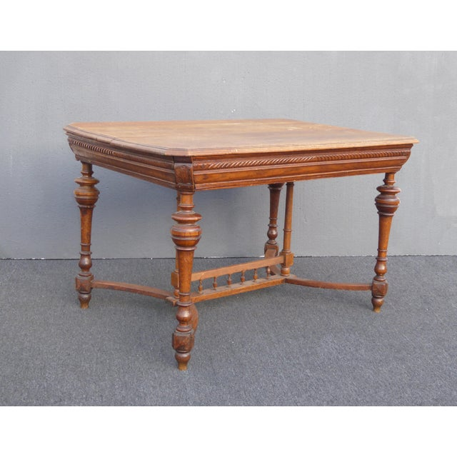 Antique Spanish Style Library Table Desk w Stretcher Mission Style Unique Table in Good Vintage Condition. Solid and Firm....