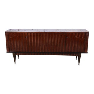 French Art Deco Macassar Ebony Sideboard Credenza or Bar Cabinet by Nf Ameublement, 1966 For Sale