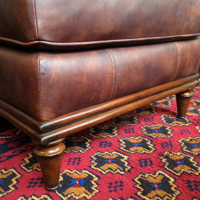 Lexington Brown Leather Ottoman - Image 7 of 8
