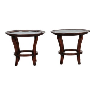 French Round Mid Century Side Tables With Etched Glass Tops - Pair For Sale