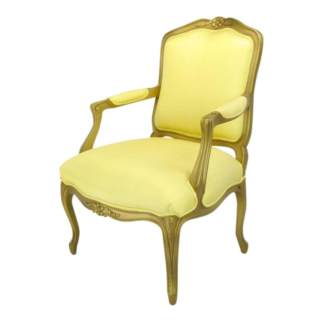 1940s Giltwood Louis XV Style Fauteuil with Saffron Silk Upholstery For Sale