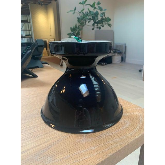 Mid-Century Modern Black Ceramic Alabax Fixture For Sale - Image 4 of 4