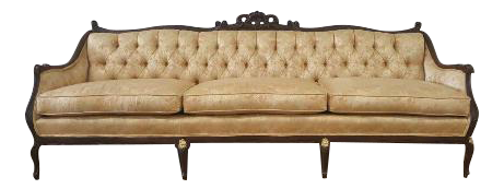 Superbe Vintage French Provincial Gold Floral Brocade Sofa
