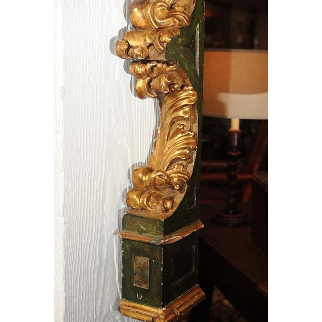 Wood Pair of Italian Paint and Giltwood Architectural Carvings For Sale - Image 7 of 7