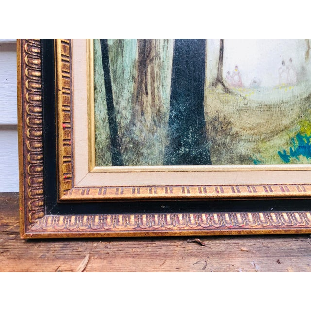 """Unique hand painted and signed vintage art. Framed in original wood antique frame. Measures 16"""" x 20"""" Picture is of dark..."""