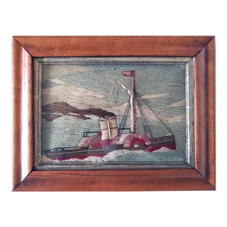 Miniature Sailor's Woolwork of a Paddle-Powered Steam Tugboat, Circa 1875-80. For Sale