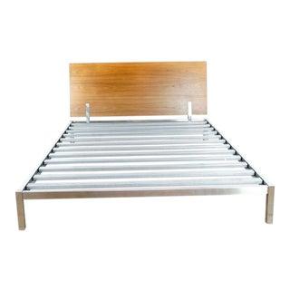 Contemporary Room & Board Metal and Wood Queen Bedframe