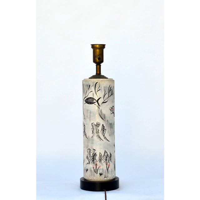 1940s 1940s Tye of California Hand Painted Cylinder Table Lamp For Sale - Image 5 of 10