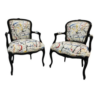 French Louis XV Style Open Armchairs - A Pair For Sale