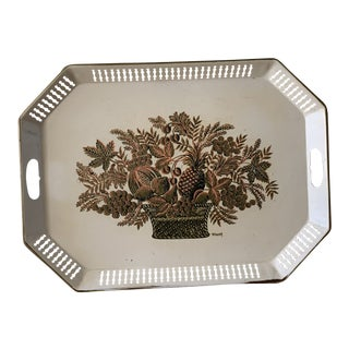 French Country Tole Metal Decor Serving Tray For Sale