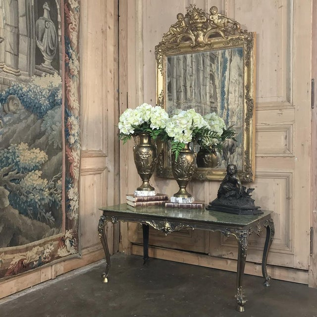 Baroque Mid-Century Italian Louis XIV Brass & Marble Coffee Table For Sale - Image 3 of 12