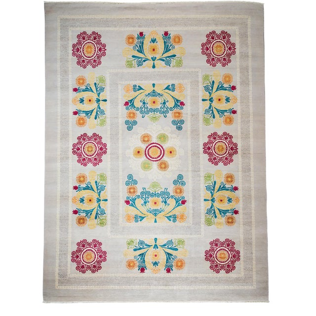 "Suzani Hand Knotted Area Rug - 9'1"" X 12'3"" For Sale"
