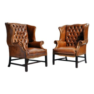 English Leather Wing-Back Armchairs - a Pair For Sale