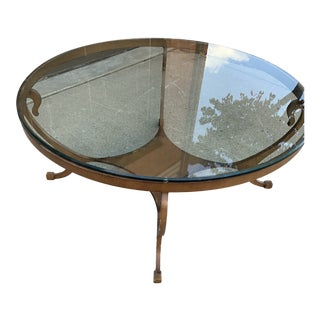 Contemporary Swaim Metal and Beveled Glass Cocktail Table For Sale