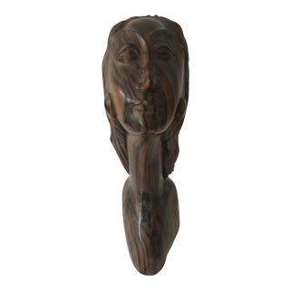 Carved Tiger Wood Bust of Woman For Sale