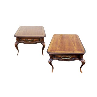 French Provincial Serpentine Carved Wood Nightstands - a Pair