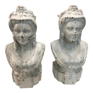 Victorian Cast Iron Busts Classical Figure a Pair For Sale